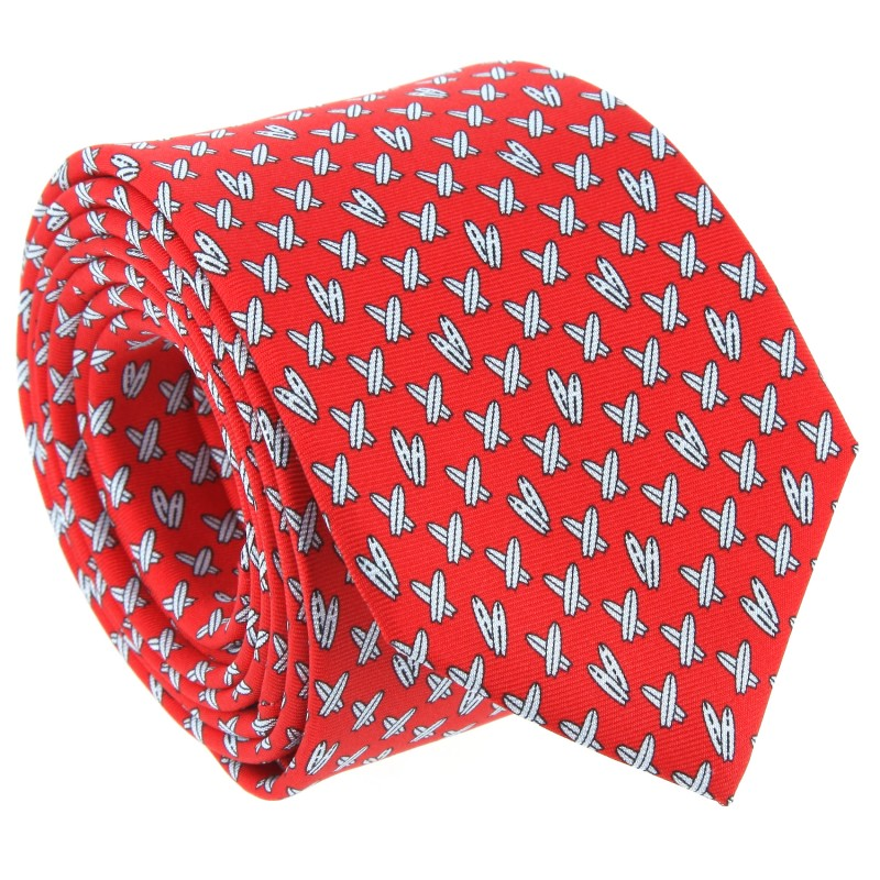 Red The Nines Tie With Surfboard Patterns - Calasetta