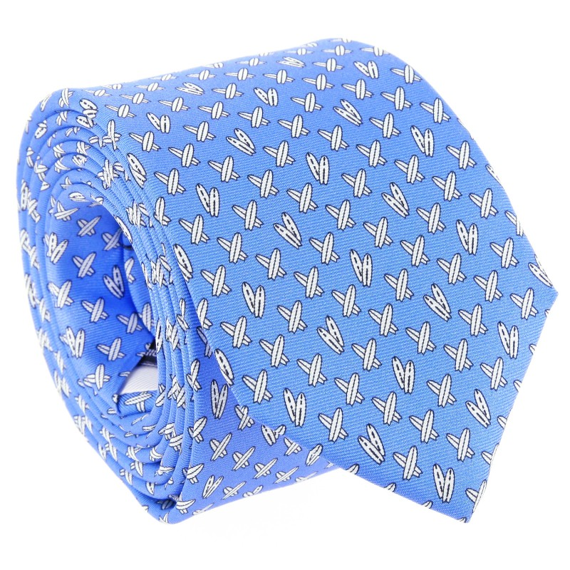 Blue The Nines Tie With Surfboard Patterns - Calasetta