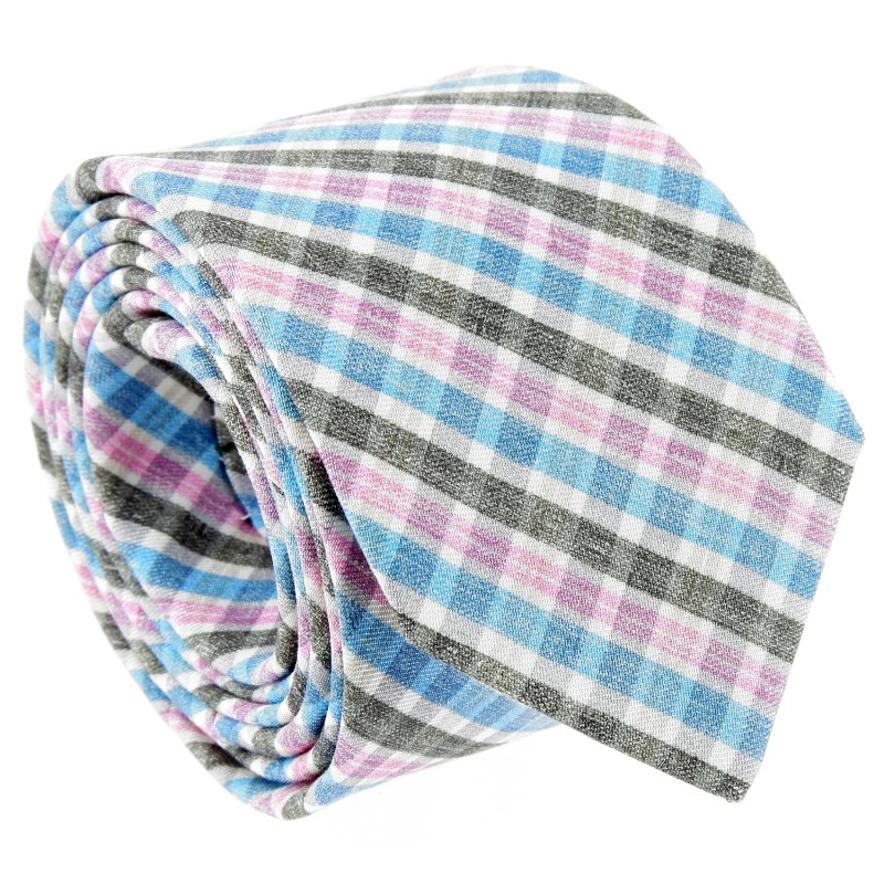 Grey, Blue and Pink Check Patterned The Nines Tie - Bosa