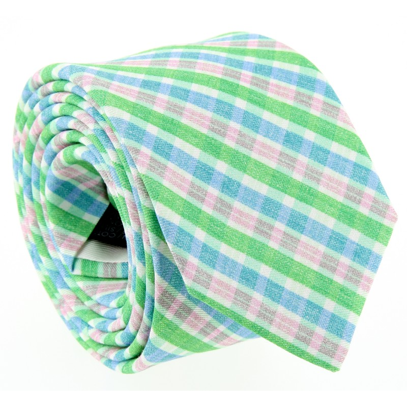 Apple Green, Blue and Pink Check Patterned The Nines Tie - Bosa