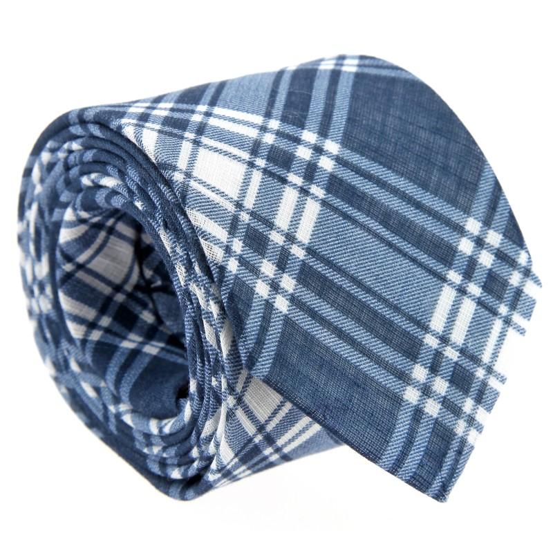 Navy Blue Tartan Pattern Tie by The Nines - Dirleton