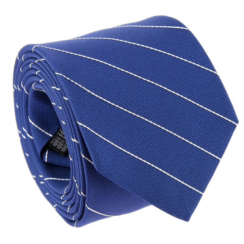 Blue Tie With White Thin Stripes by The Nines - Cetona