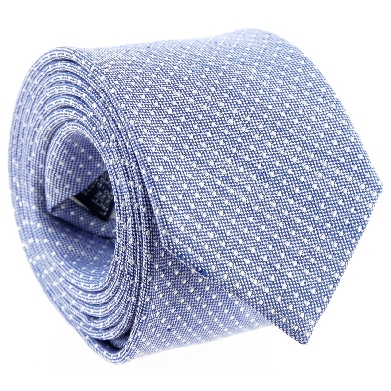 Blue Basket Weave Silk and Linen Tie With White Pinhead by The Nines - Grosseto