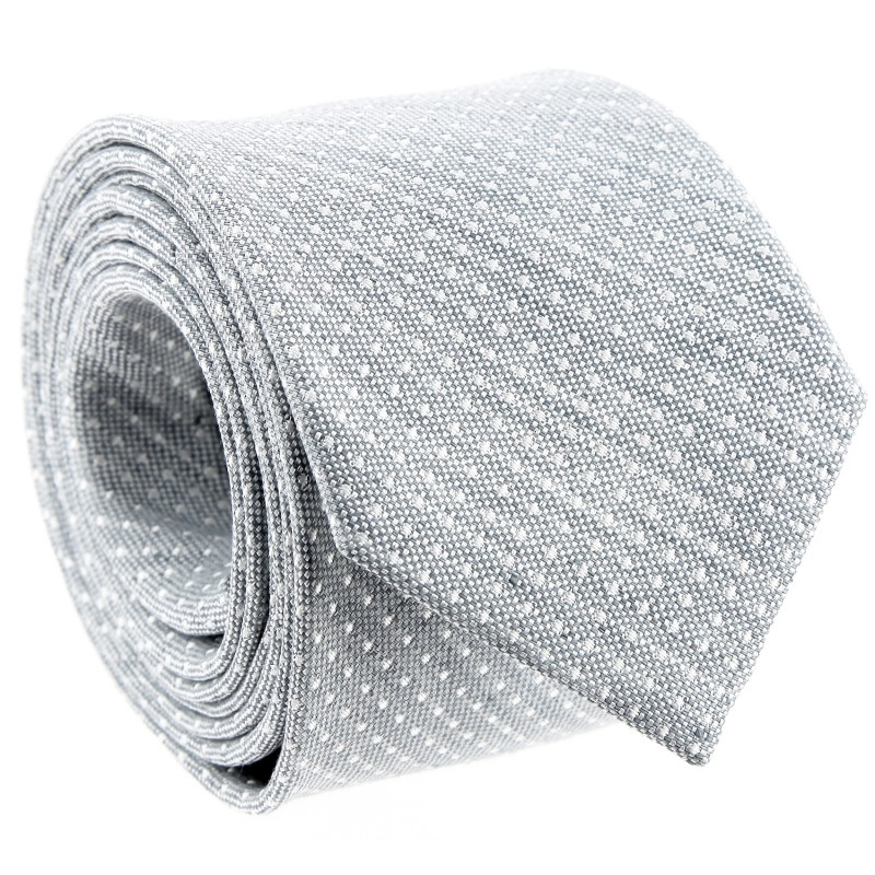 The Nines Pearl Grey Basket Weave Silk and Linen Tie with White Pinhead Pattern - Grosseto