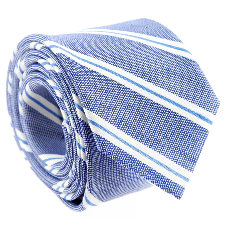 Blue Tie with White and Blue Stripes by The Nines - Cambridge