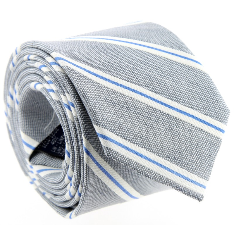 Light Grey Striped Tie by The Nines - Cambridge