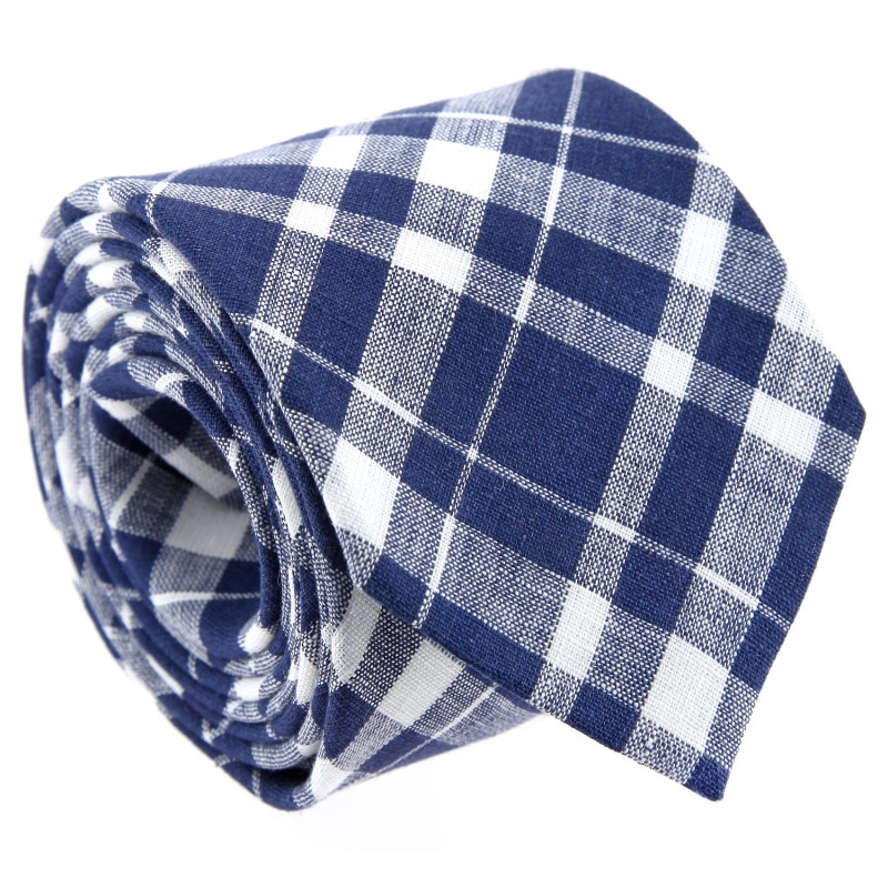 Navy Blue and White Tartan Pattern Tie by The Nines - Dunoon