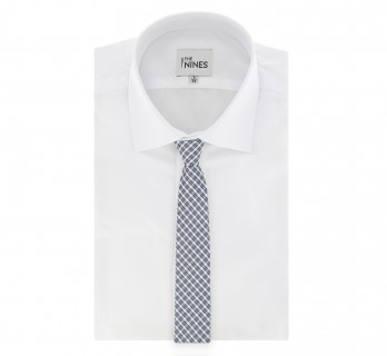 Grey White and Black Check Pattern Tie by The Nines - Tarento
