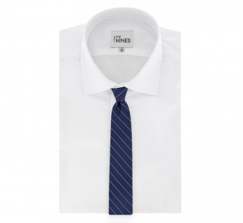 Navy Blue Tie With Grey Thin Stripes by The Nines - Cetona