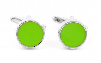 Lime green round cufflinks - Montreux II