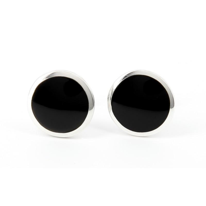 Black round sterling Silver cufflinks - O'Hare II