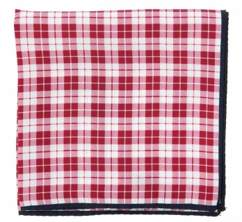 Red Checked Silk Pocket Square - Oristano
