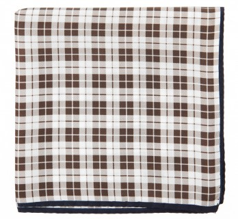 Brown Checked Silk Pocket Square - Oristano