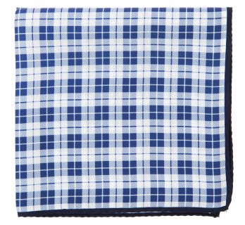 Navy Blue Checked Silk Pocket Square - Oristano