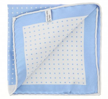 The Nines Light Blue Pocket Square with Light Grey Polka Dots - Pocket Square