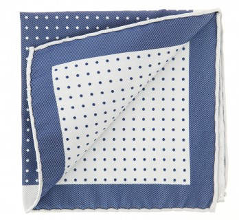 The Nines Navy Blue Pocket Square with Light Grey Polka Dots - Pocket Square
