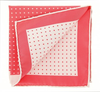 The Nines Pink Coral Pocket Square with White Polka Dots - Pocket Square