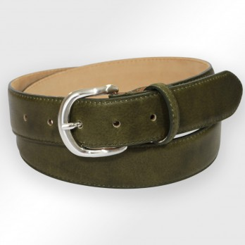 Leather belt in olive green - Morgan