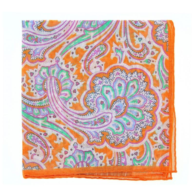 Orange Paisley The Nines Pocket Square