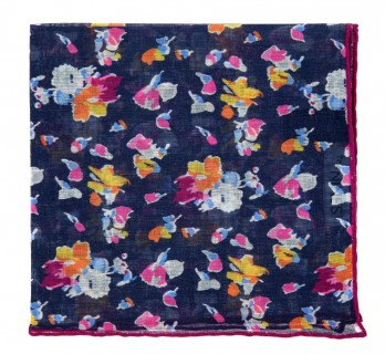 Navy Pocket Square with Flowers by The Nines