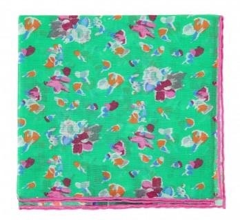 Green Pocket Square with flowers - Pocket Square The Nines