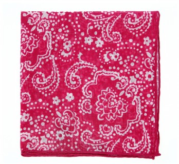 Raspberry Pocket Square with White floral pattern - Pocket Square The Nines