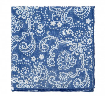 Blue Pocket Square with White floral pattern - Pocket Square The Nines