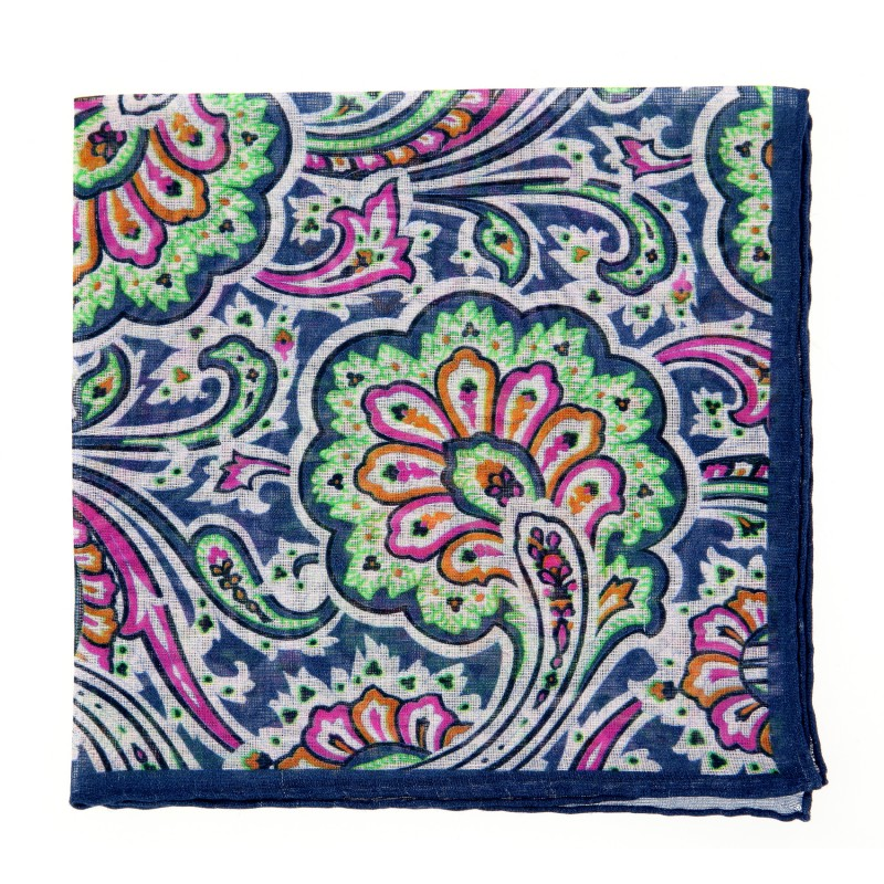 Navy Blue Paisley The Nines Pocket Square