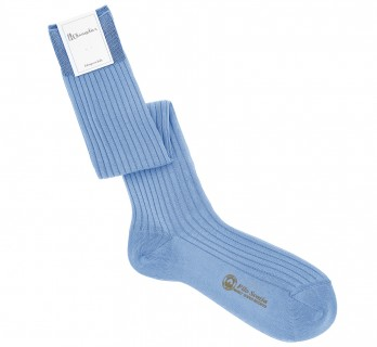 Light blue scottish lisle thread knee socks fine ribbed