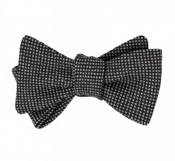 Grey Wool Bow Tie with Caviar Pattern - Gill