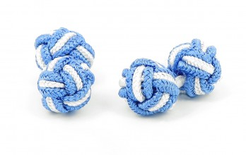 Sky blue and white silk knots - Bombay