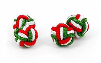Green, white and red silk knots - Bombay