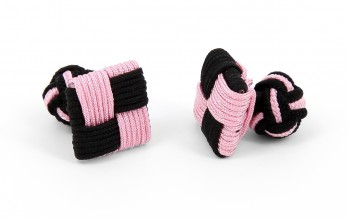 Pink/black square silk knots - Manila