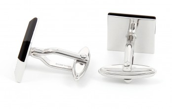 Nina Ricci cufflinks - black and silver Square onyx