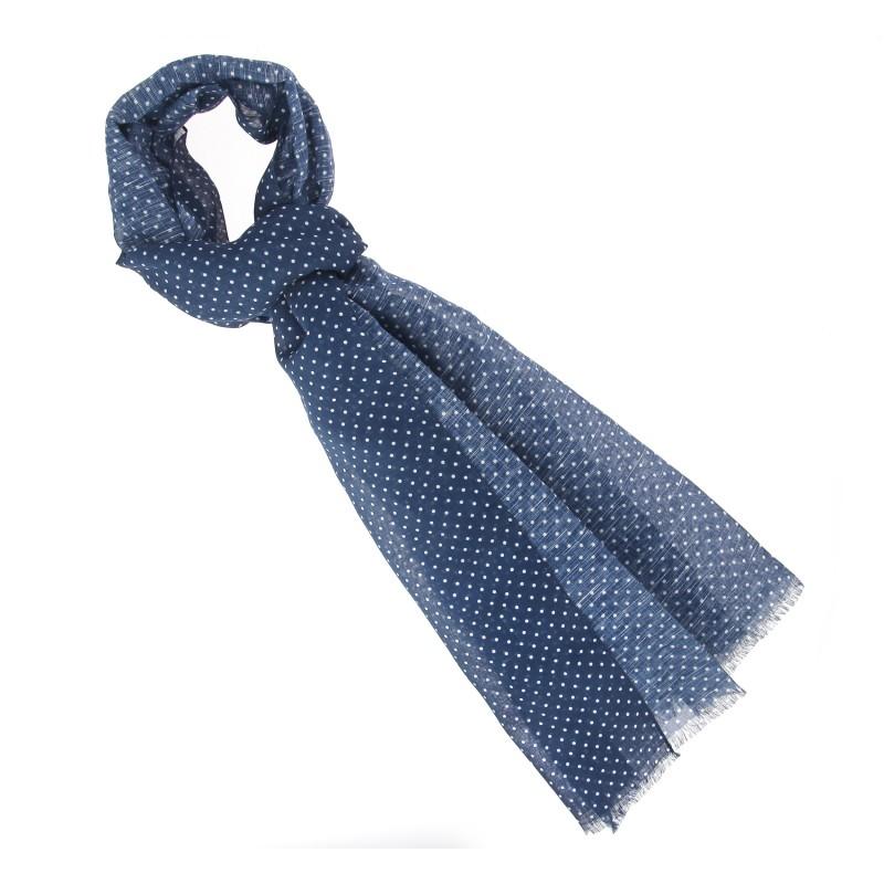 Navy polka-dot scarf - The Nines