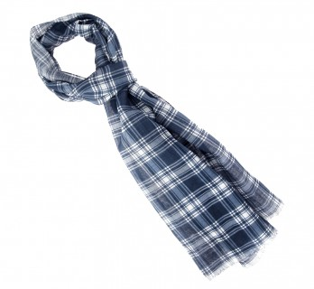 Beige and Navy tartan cotton scarf - The Nines