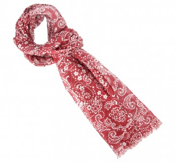 Red and white floral pattern cotton scarf - The Nines