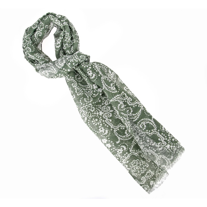 Kaki and white floral pattern cotton scarf - The Nines