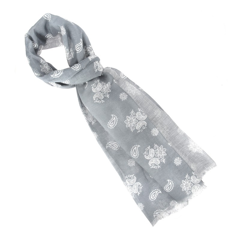 Grey and white paisley cotton scarf - The Nines