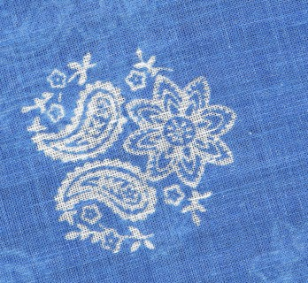 Blue and white paisley cotton scarf - The Nines
