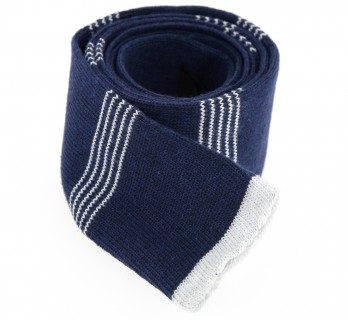 Hugo Boss Navy Blue Knitted Cotton Tie With White Stripes