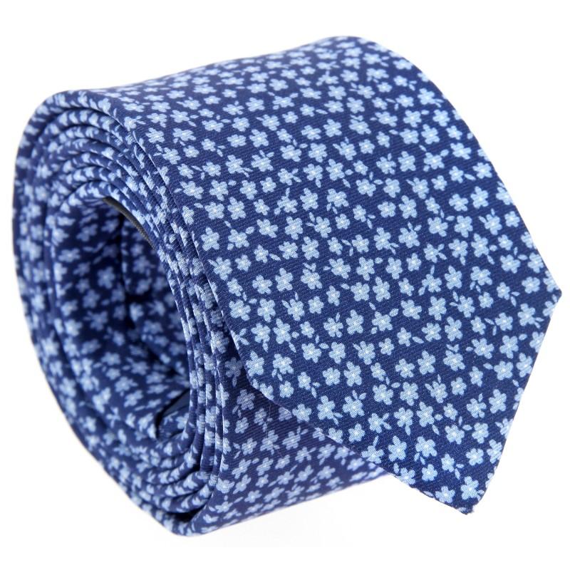 Navy Blue floral Silk The Nines Tie - Valbonne