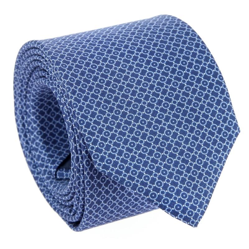 Blue circle pattern Silk The Nines Tie - Veules