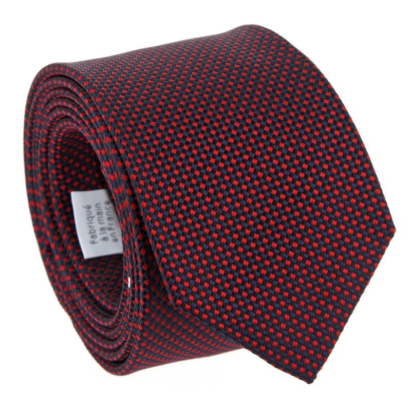 Semi Plain Red Silk Basket Weave The Nines Tie - Marigny