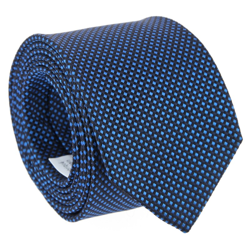 Semi Plain Blue Silk Basket Weave The Nines Tie - Marigny