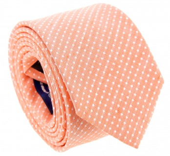 Orange Basket Weave Linen and Silk Tie with Polka Dots - Gaeta