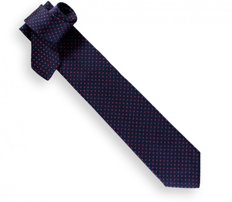 Navy Blue and Red Polka Dots Héritage Tie - Atlanta II