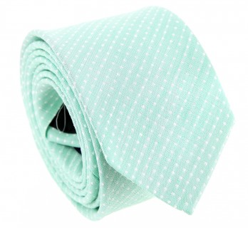 Aqua Green Basket Weave Linen and Silk Tie with Polka Dots - Gaeta