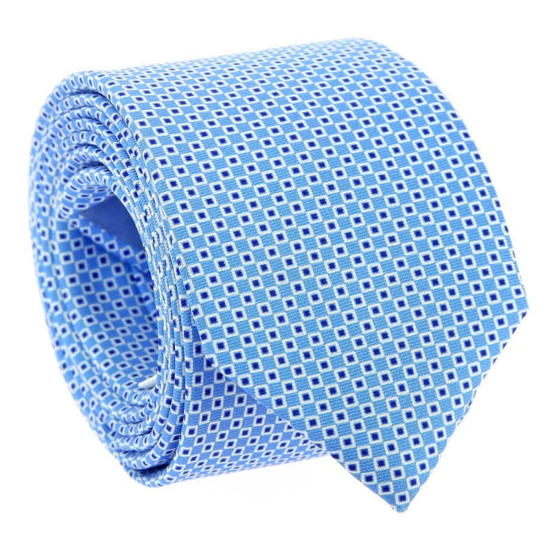 Sky Blue Checked Silk The Nines Tie - Dinan