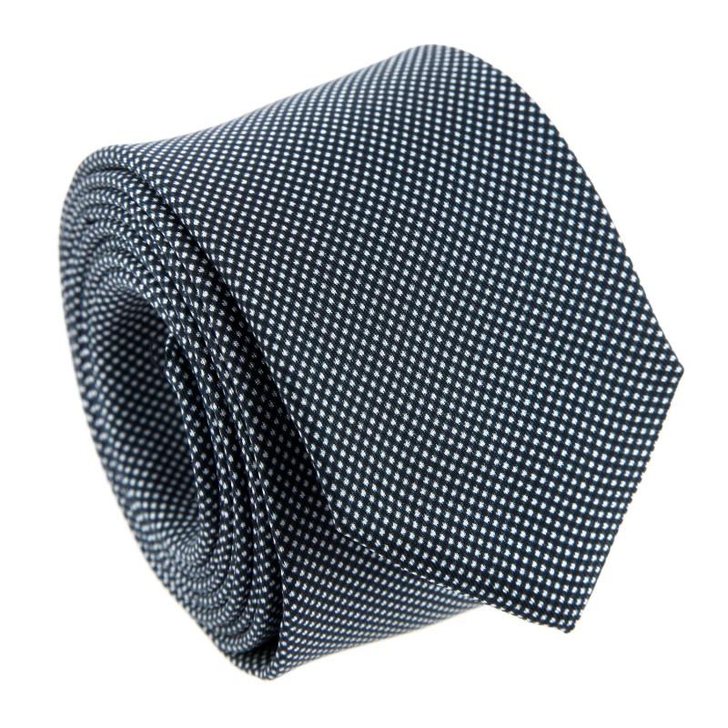 Semi-Plain Navy Blue Pinhead Skinny The Nines Tie - Destroit